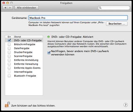 CD Freigabe Mac OS X
