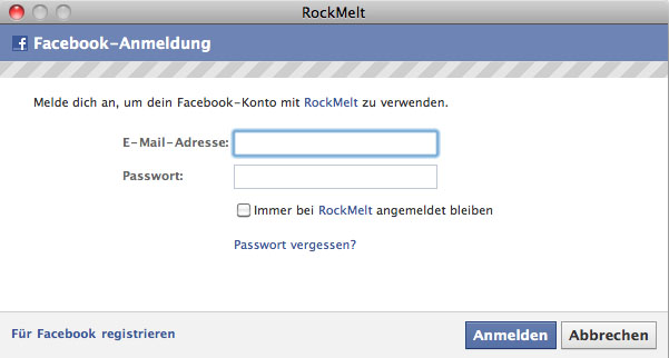 Rockmelt Facebook LogIn